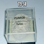 Pumice natural mineral/gemstone specimen in display case